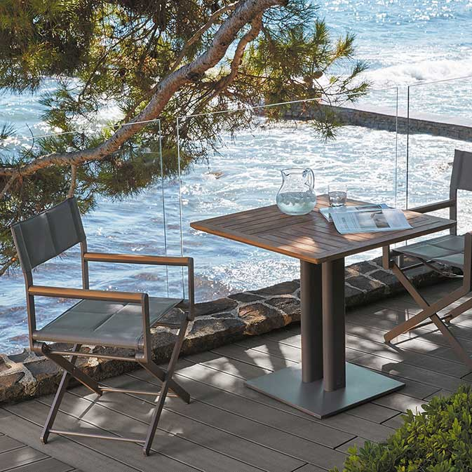 """matched: two taupe oskar director's chairs and oskar 32"""" square dining table in moka with synteak top"""