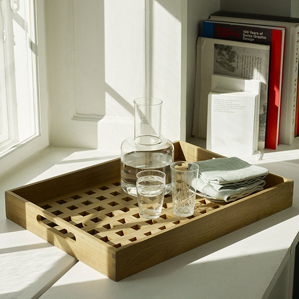 serve in style: fionia tray makes serving easier (teak)
