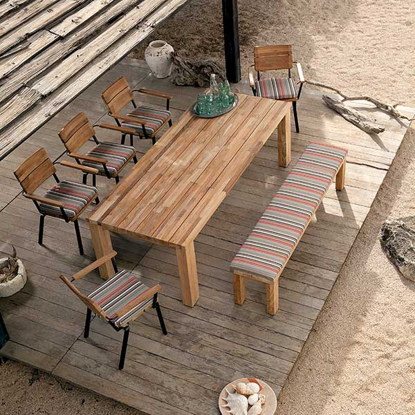 bird's-eye view: titan rustic teak dining table w/ backless bench and stacking rustic armchairs