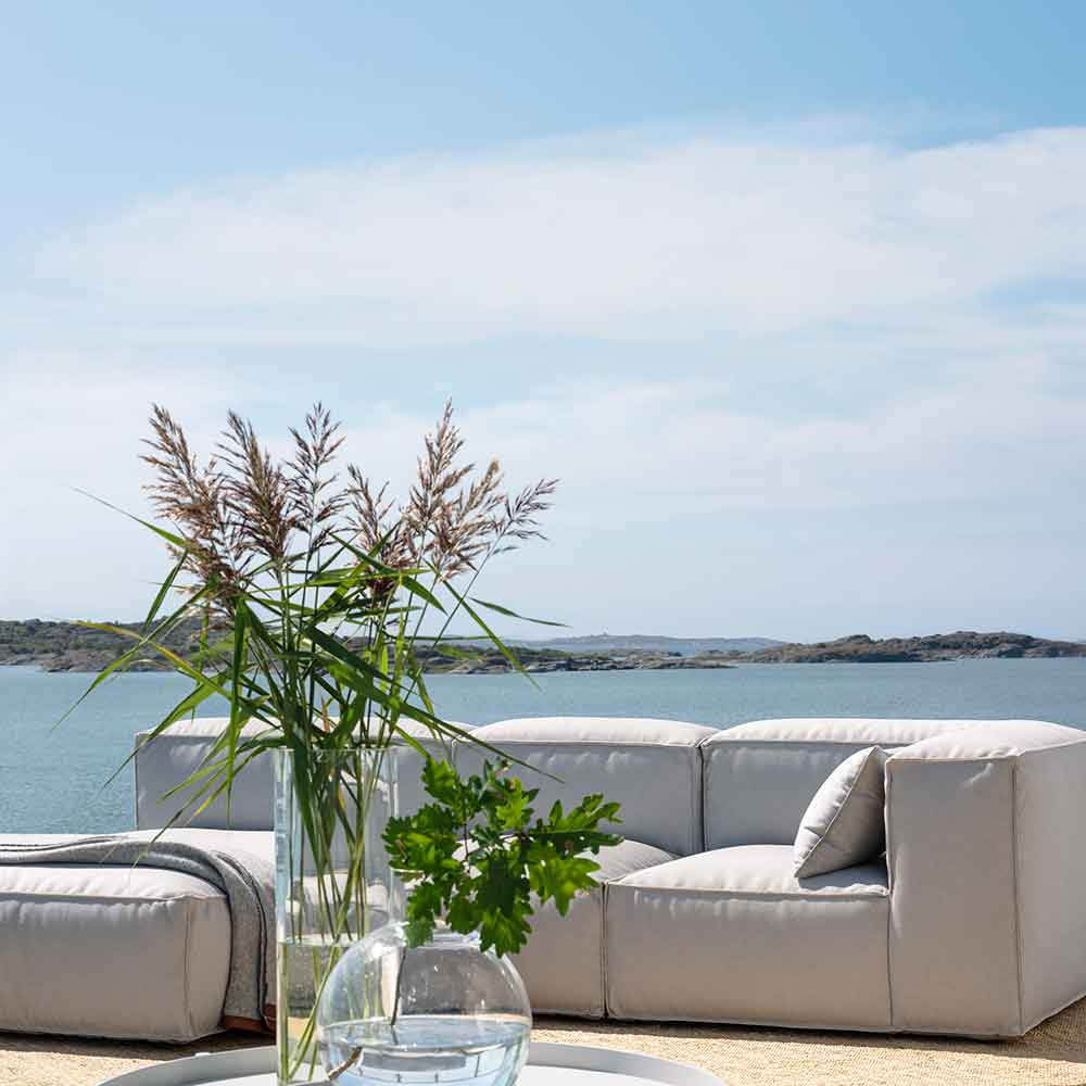 lounge by the sea (left to right): asker sofa ottoman + sofa mid section large + sofa mid section small + corner sofa