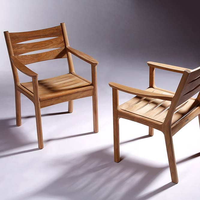 small gathering: two monterey all teak armchairs in its sculpted beauty