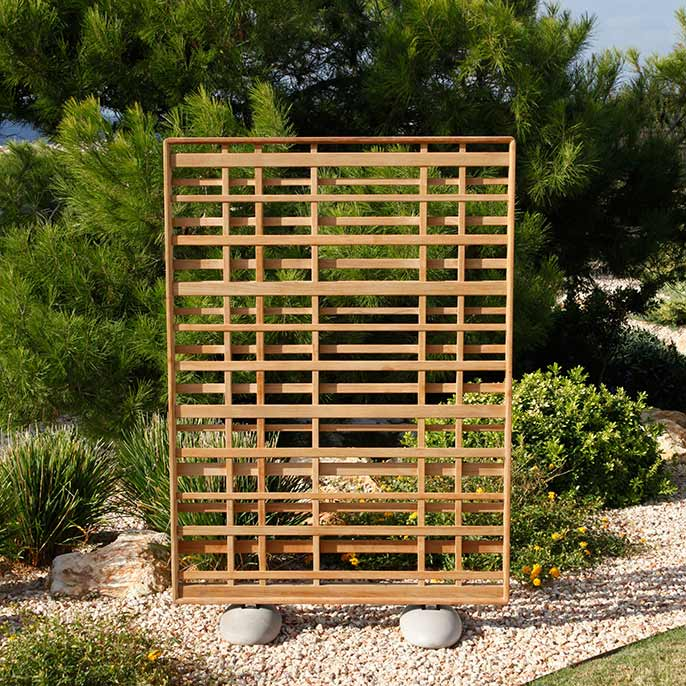 "a piece of garden art: barlow tyrie's 48"" wide woodland screen in weather-resistant, natural teak"