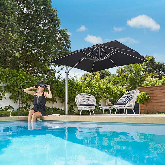 shade where you like it: 10' square eclipse cantilever in color black