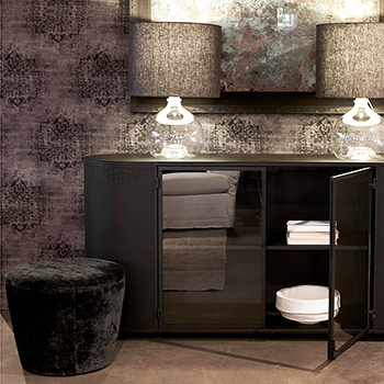 garrett ottoman as an accent piece alongside the isaac oval credenza by cisco brothers