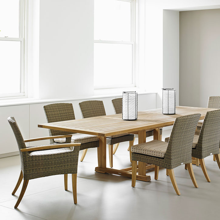 six pepper marsh side chairs and two armchairs with optional seat pad cushionsimage provided courtesy of gloster furniture, inc.