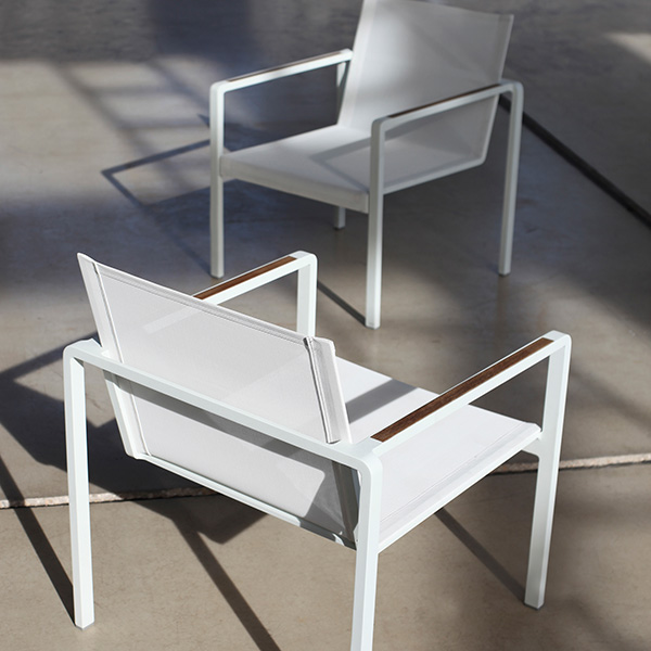 two alura lounge chairs w/ optional teak armrests (upcharge applies)
