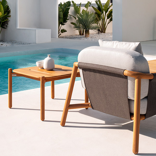 back view: batyline back on hamp deep-seating armchair, weather resistant and durable