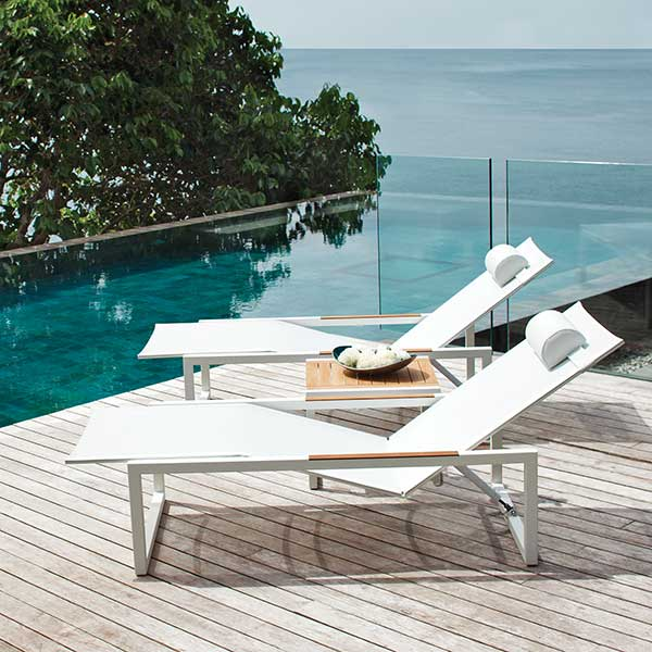 "side-by-side serenity: ninix lounger w/ wheels (white w/ teak armrests) and ninix 20"" side table (teak)"