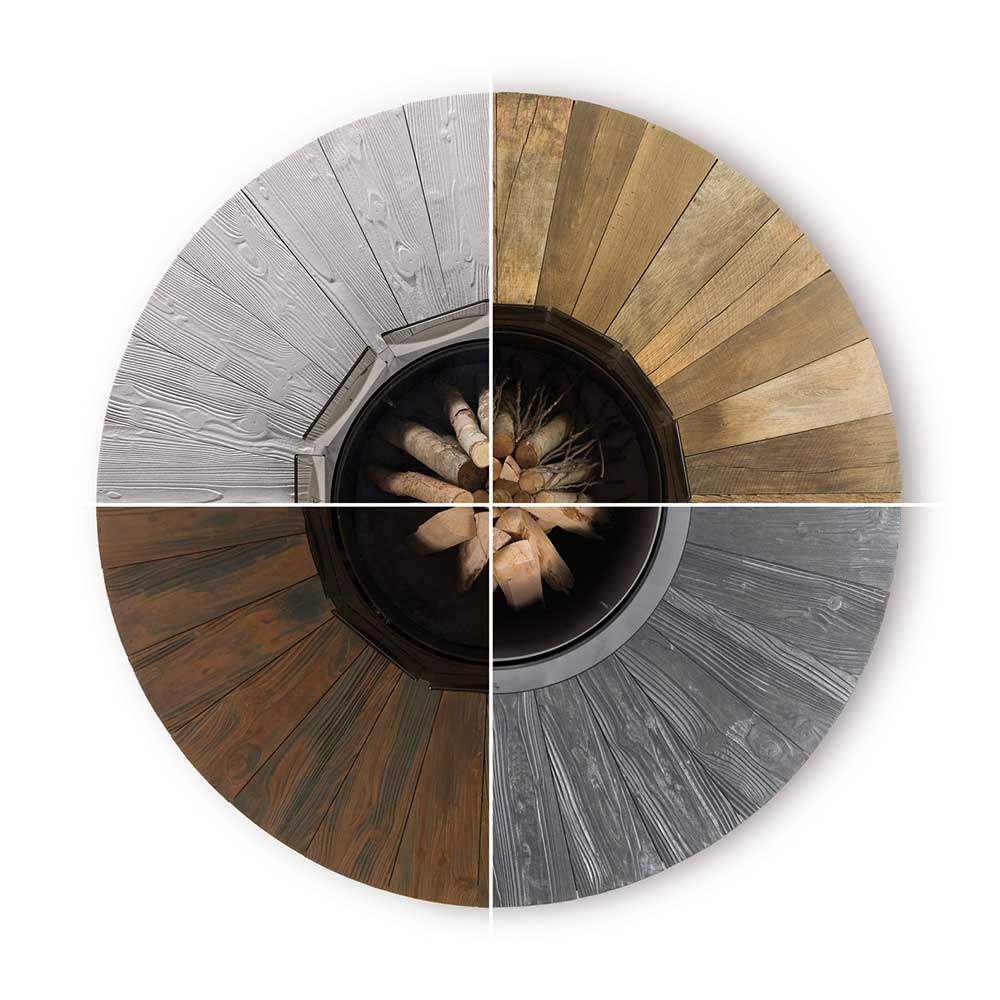 texture collection finishes: aluminum, wood, iron and iron brown