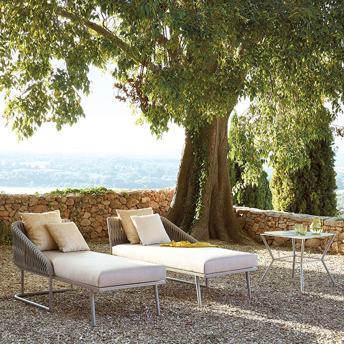 """basket right and left-facing chaise loungers paired alongside the square 20"""" metal side table makes a lovely vignette"""