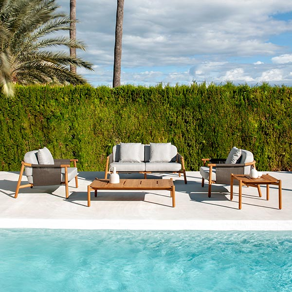 """pool fun: two hamp deep-seating armchairs, 2-seater sofa, 51"""" coffee table and 24"""" square corner table (throw pillows included in price)"""