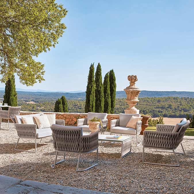 """tuscan elegance: basket three lounge chairs and two 2-seater sofas with 43"""" coffee table (ceramic top)"""