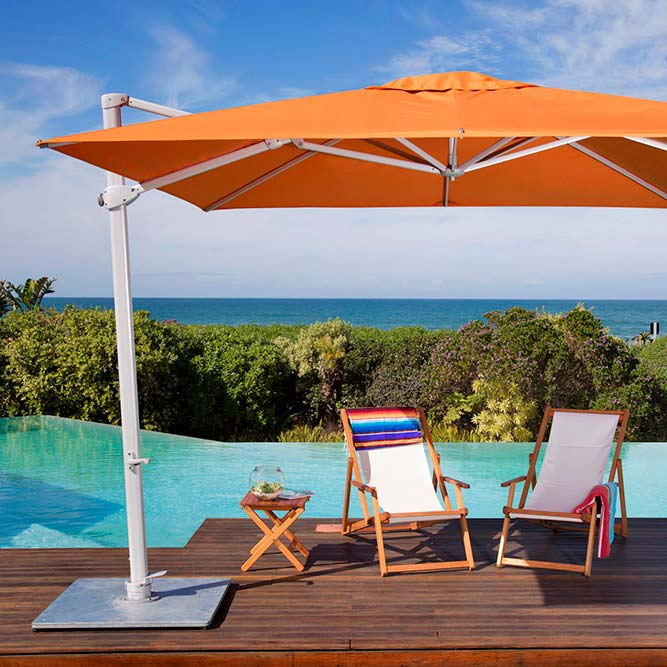 for public or private pool: 9.8' pavone square foldaway cantilever umbrella with sunbrella canopy in tuscany