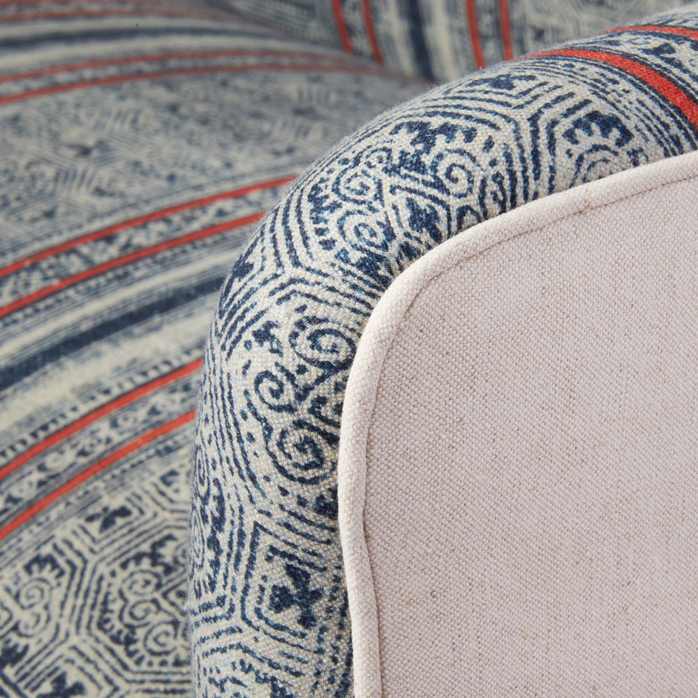 piping workmanship close-up: elena settee in maurishka pinedo's amara brick fabric