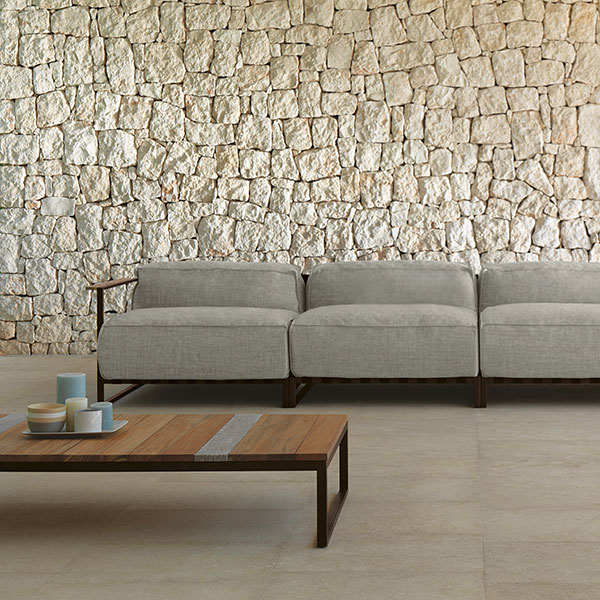 "serenity: casilda sofa assembled from (l-r) sofa dx + 2 sofa cx + sofa sx (combination B6|C88|S7|I2: mocha frame, grey cushion) front: casilda 55"" rectangular coffee table in mocha and iroko wood"