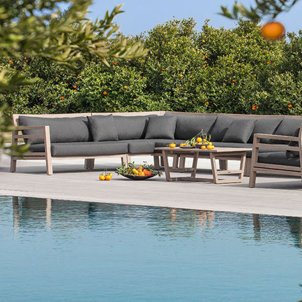 afternoons by the pool: custom configuration (pickled teak/ nature grey)