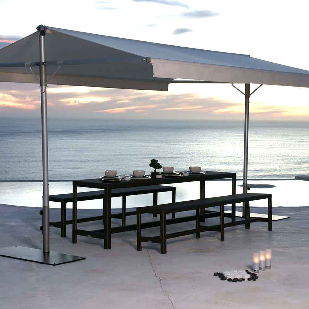 festive or casual: papillon dual-pole shade with stainless steel poles and canopy in sunbrella canva