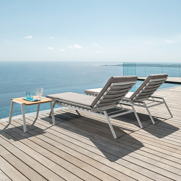 """enjoy the view: two cottage sunbeds with 23"""" square coffee table (frame white   cushion light grey   tabletop iroko wood)"""