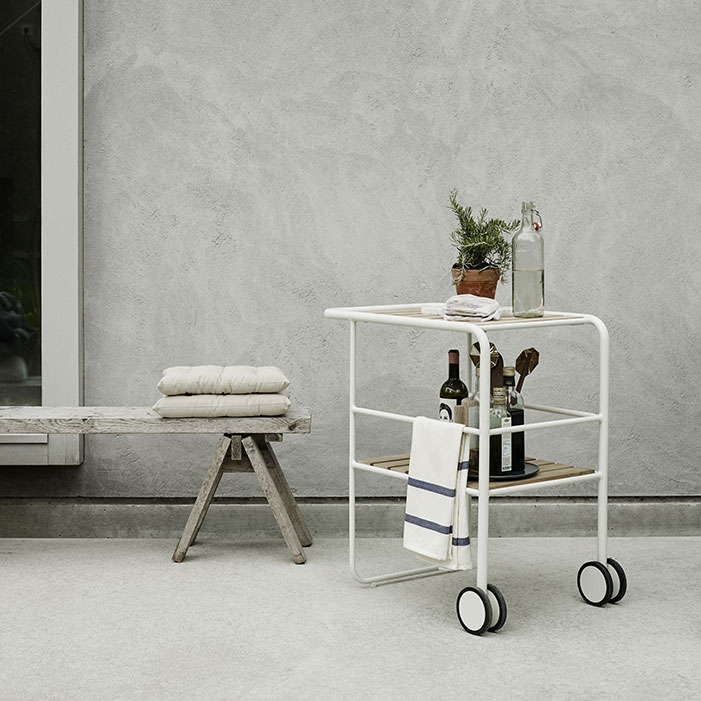 effortless entertaining: fuori serving trolley in silver white