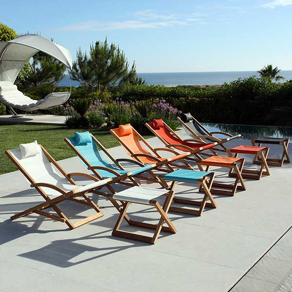 invitation to pause: beacher relax chair and footrest, available in numerous colors and 2 sling materials