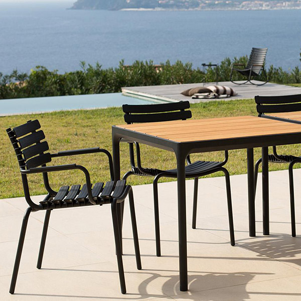 "two are more than one: 35"" and 63"" four square table (legs: powder-coated aluminum, black 