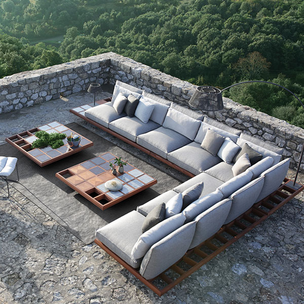 "bird's-eye view: mozaix lounge set 02 with two 50"" square lounge elements and other accessories"