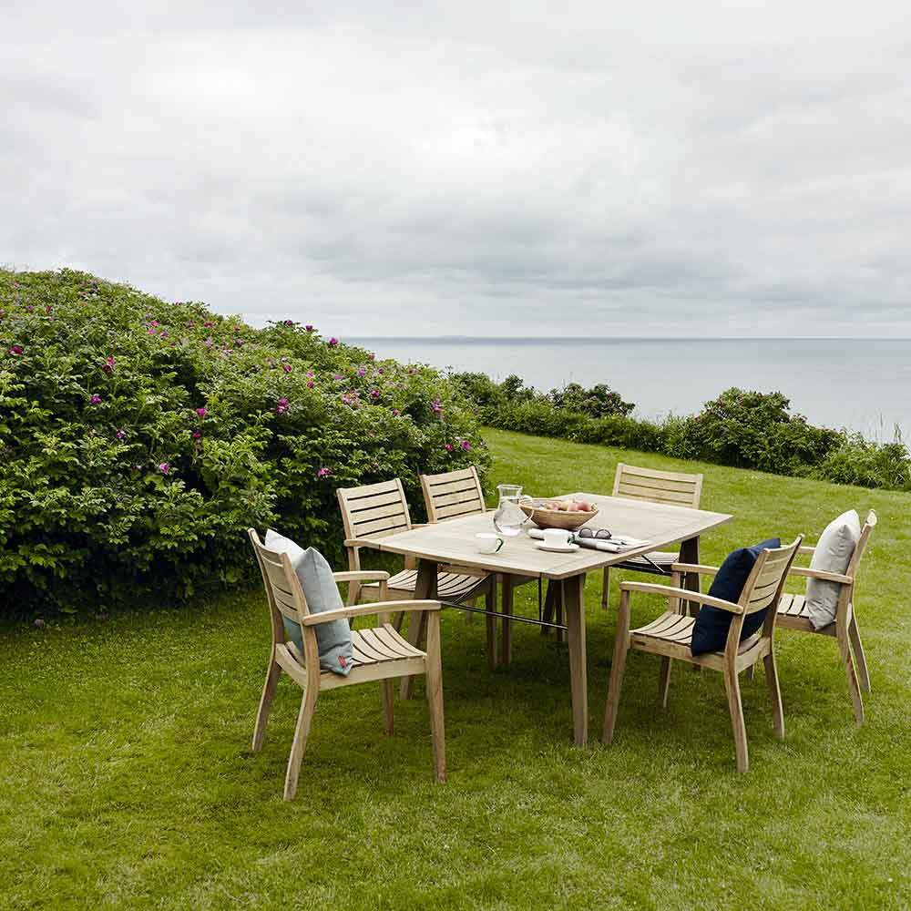 """ready set: ballare 77"""" dining table (unextended) and six ballare dining chairs all in teak outdoor"""