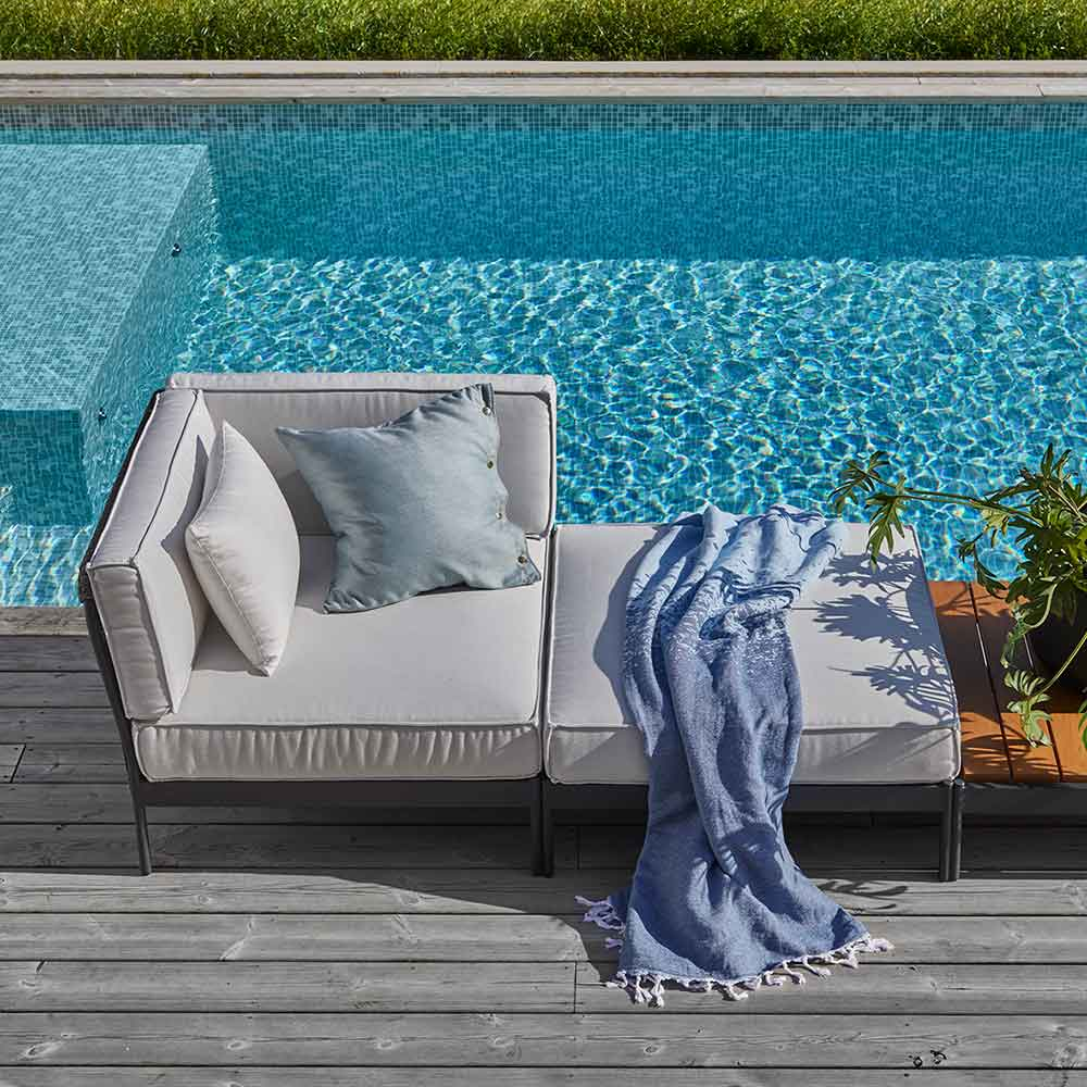 poolside lounging: lido sofa, ottoman and lounge table