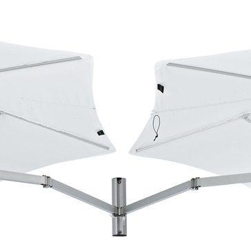 detail: duo-hinge for european wall mount umbrella with duo canopies
