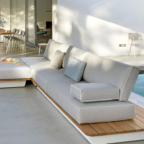 l-shape: concept 1 shown with cushions in white sand lotus fabric