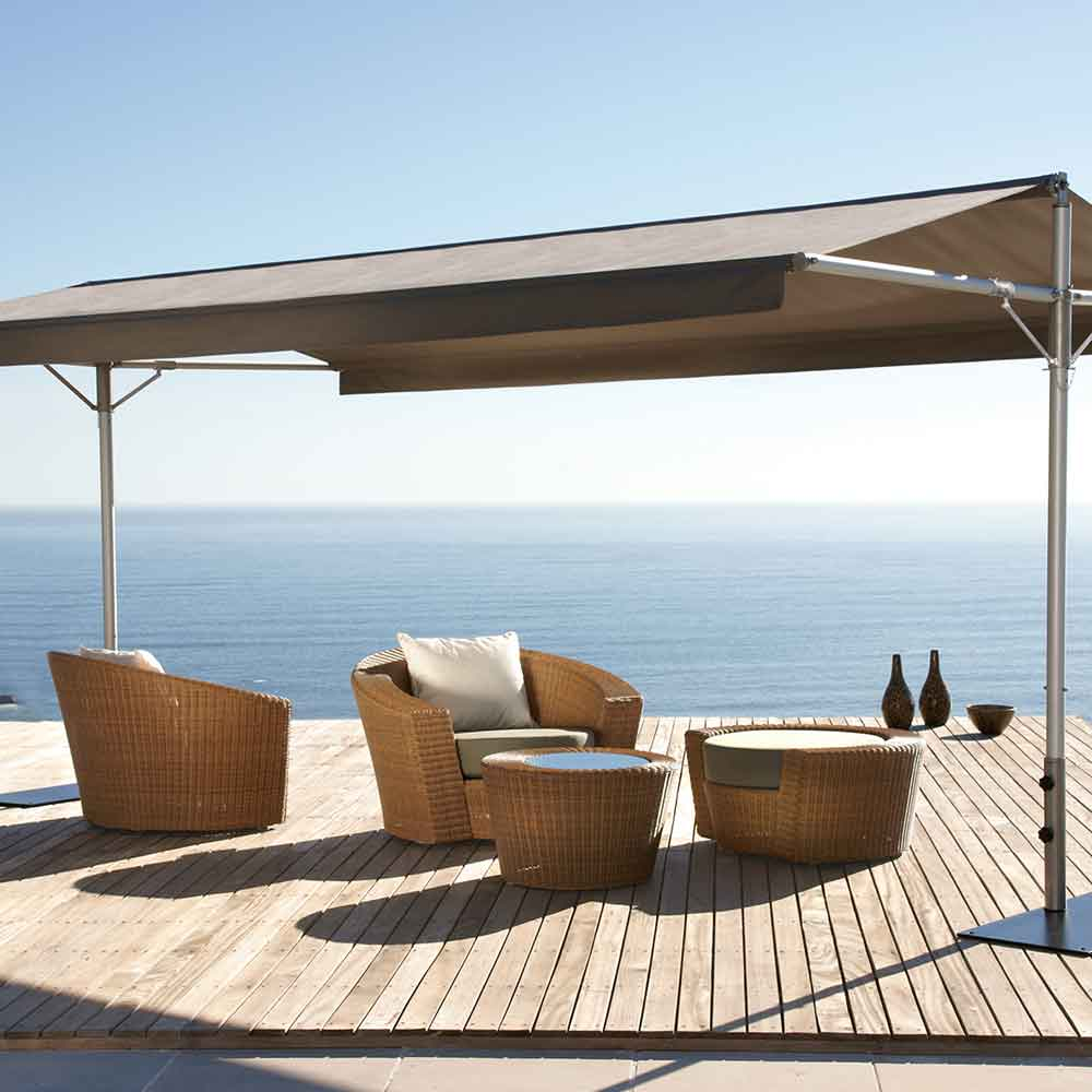 enjoy the view: papillon dual-pole shade with stainless steel poles and canopy in sunbrella heather beige
