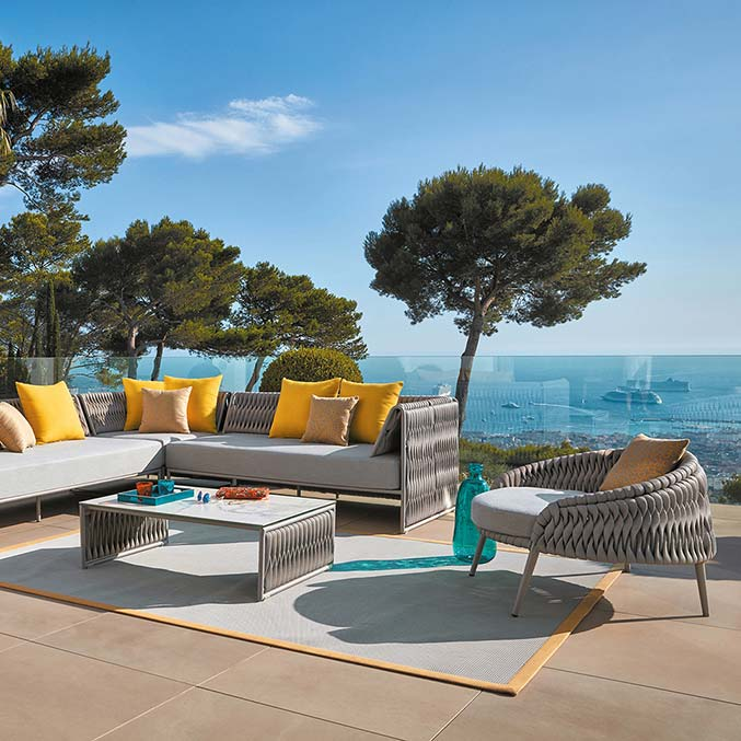 """enhancing the view: kalife left/ right arm 2-seaters, corner module w/ lounge chair and 35"""" square coffee table"""