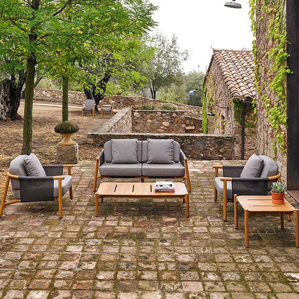 """perfect for your country home: two hamp deep-seating armchairs, 2-seater sofa, 51"""" coffee table and 24"""" square corner table (throw pillows included in price)"""