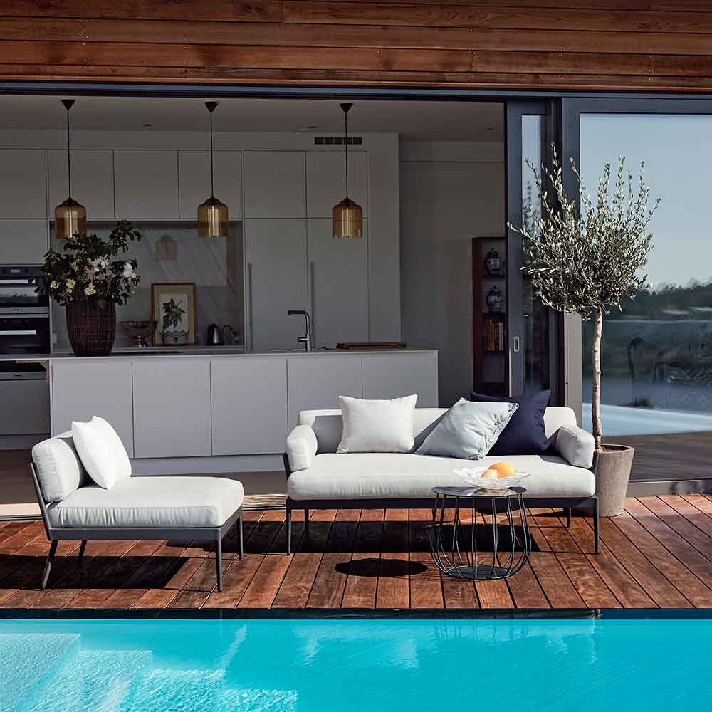 patio style: anholt sofa and lounge chair with armrests removed