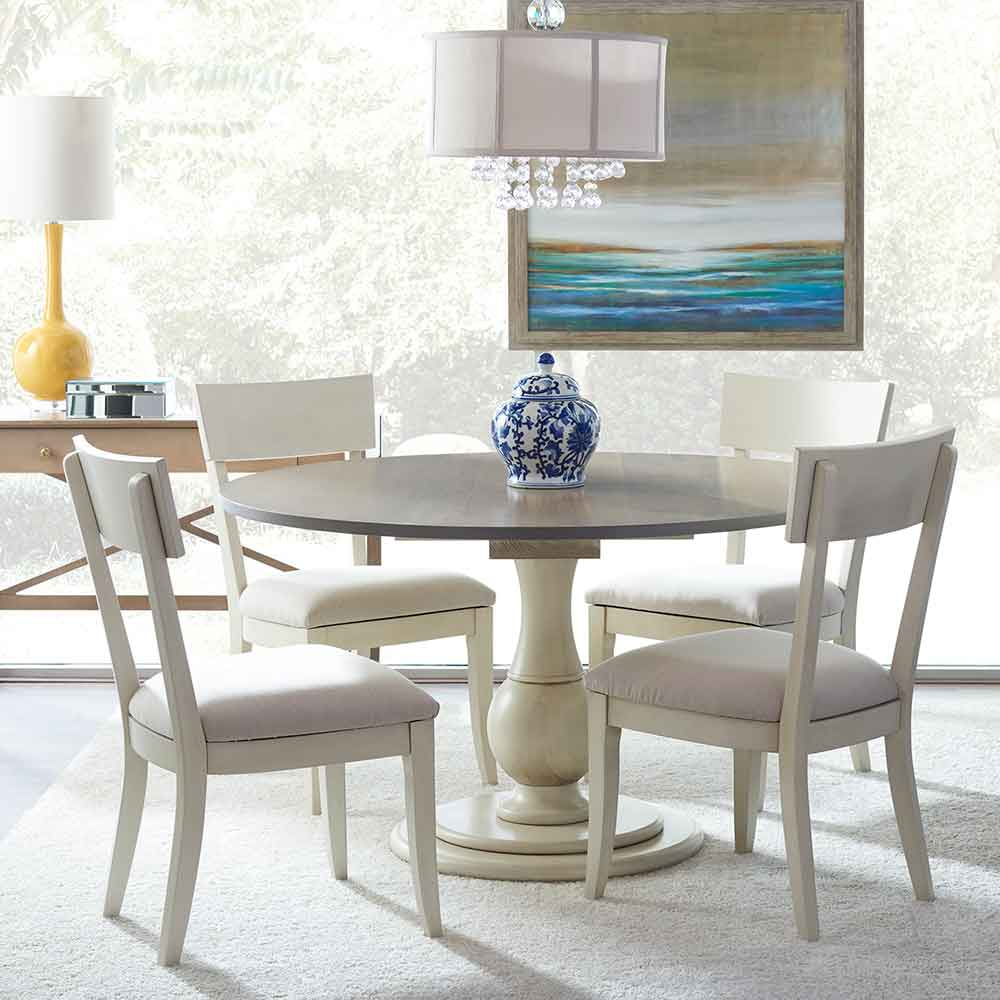 taylor table in two-tone finish, bella side chairs, and a custom painted talmadge chest
