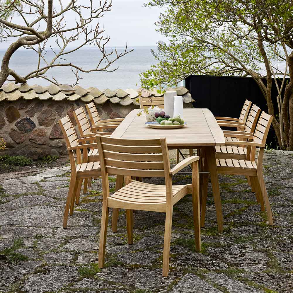 """dining by the sea: ballare 77-116"""" extending dining table with eight ballare dining chairs in outdoor teak"""