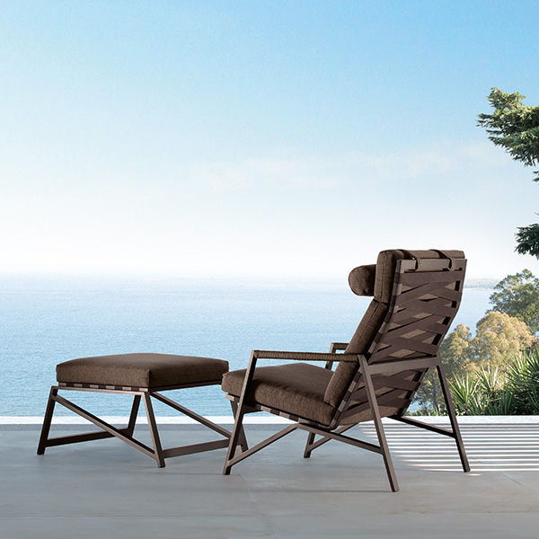 inviting chill-out spot: cottage lounge armchair with pouf (frame mocha   cushion dark brown)