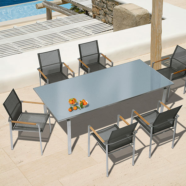 """6 mercury stacking armchairs w/ mercury 87"""" dining table"""