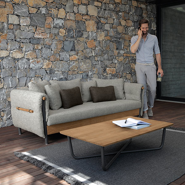 "take your business outdoors: domino sofa and 47"" coffee table (frame: graphite 