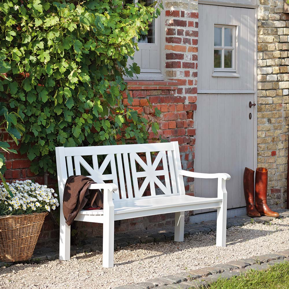 artisan craftsmanship: the cottage bench is hand-welded, polished, and powder-coated