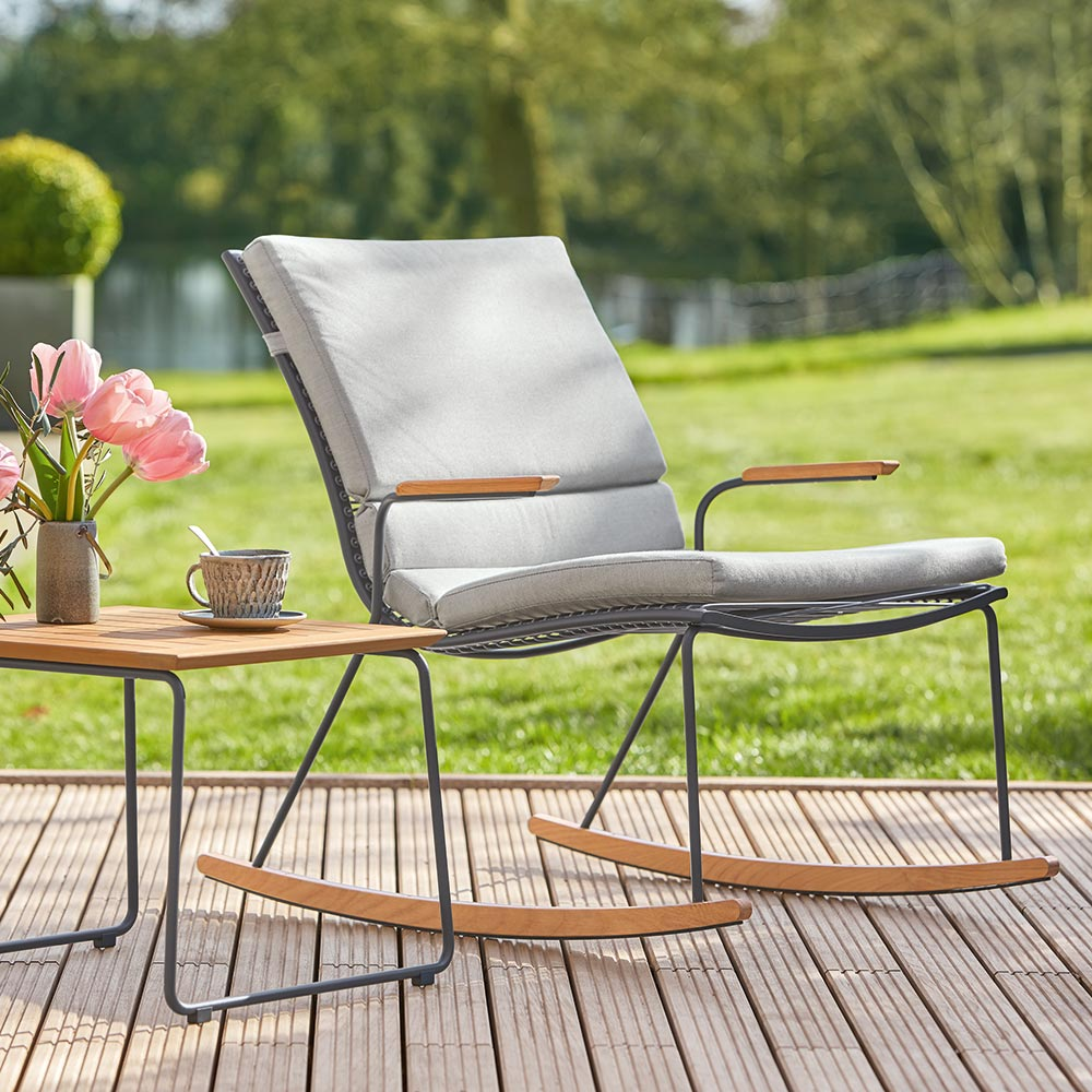 summer comfort: the pan rocking chair is strung with synthetic elastic lacing that comfortably adjusts to body contours