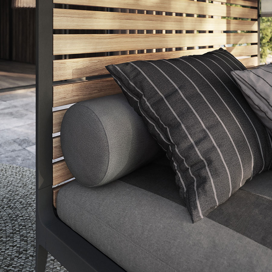 sunbrella deep outdoor back bolster cushions provide sumptuous comfort image provided courtesy of gloster furniture, inc.
