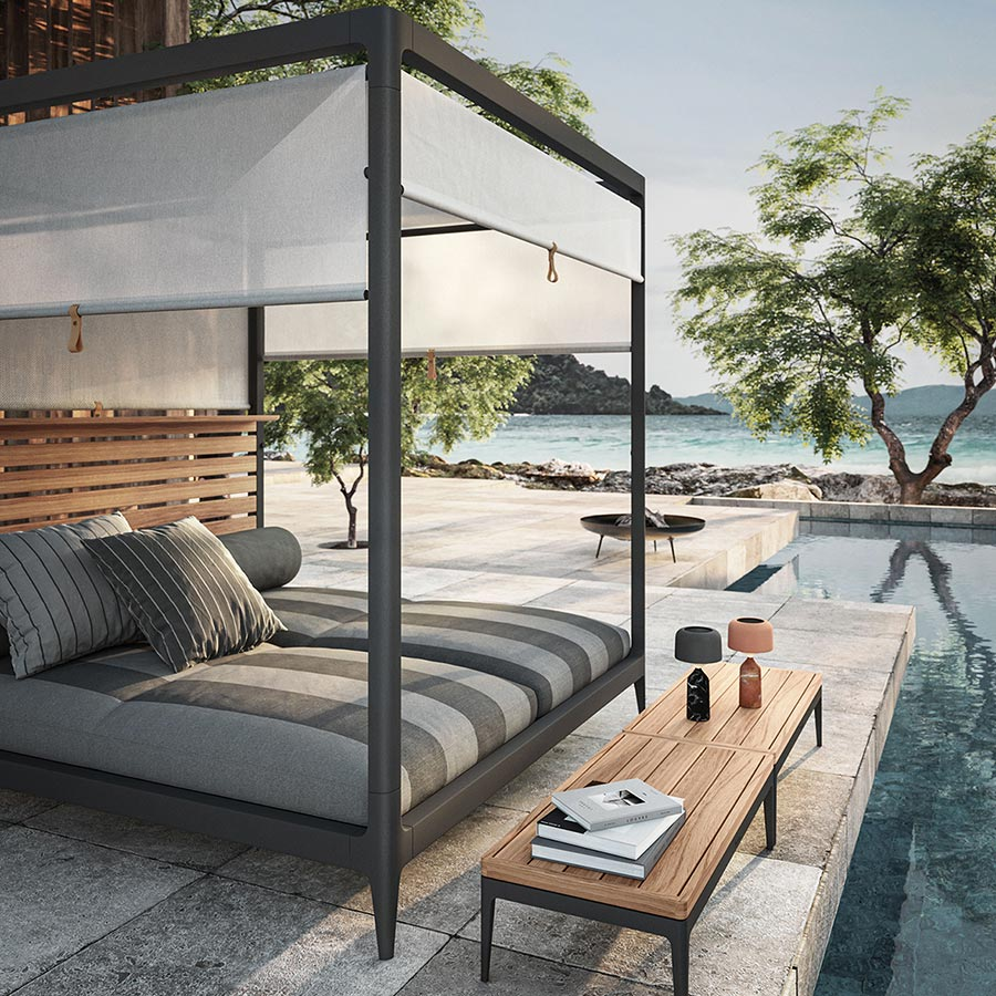 """accessorize your sanctuary: complement your lodge cabana with a 41"""" lodge teak coffee table image provided courtesy of gloster furniture, inc."""