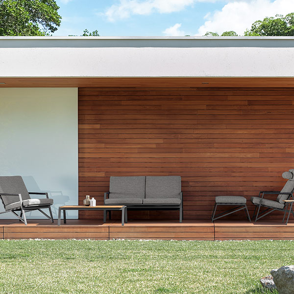 """fitting onto narrow decks: cottage living armchair, sofa, pouf and lounge armchair with 47"""" coffee table"""