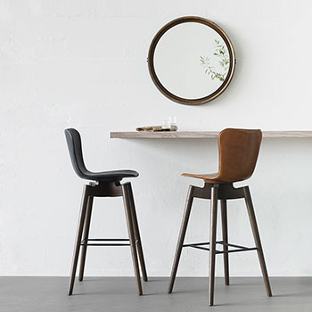 mix it up: dunes anthrazit and dunes rust leather bar stool with sirka gray stained oak legs and base