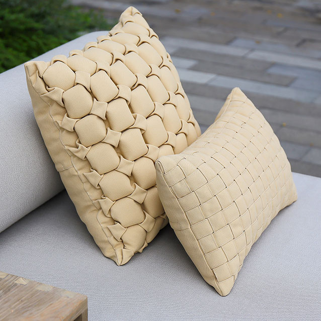 """perfect combo: 18"""" bee pillow with 20"""" x 12"""" weave pillowimage provided courtesy of mamagreen, llc."""