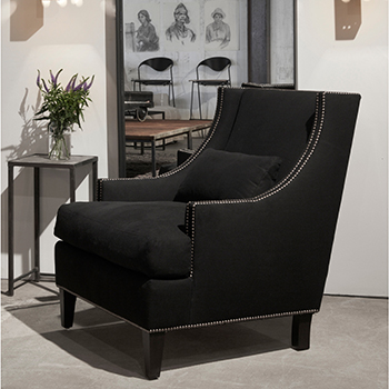decorative and comfortable: bruno wing chair in black (special fabric: JD velluto midnight; longer lead time)