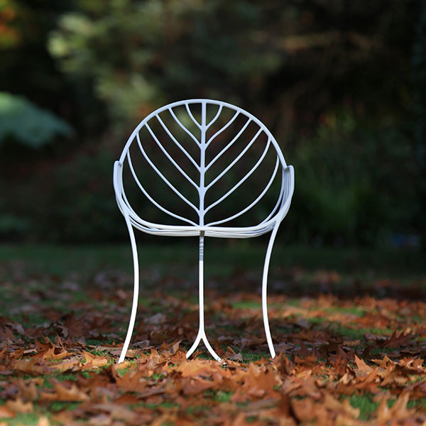 blending with nature: folia chair by royal botania in white-coated stainless steel
