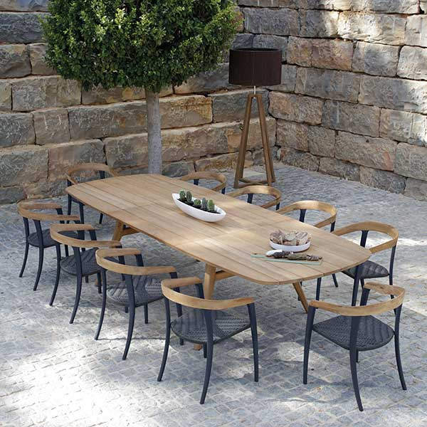 "2 collections, 1 harmony: 10 jive chairs around zidiz extendable table (fully extended 126"")"