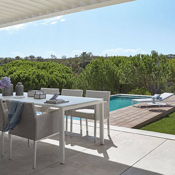 poolside dining: liner armchairs in quick-ship white frame and lotus smokey fabric